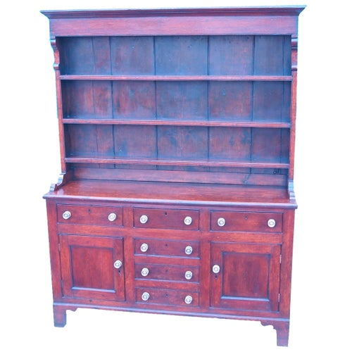 Antique Georgian Oak Dresser with Rack