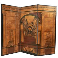 Neoclassical Three Fold Lacquered Screen, English, circa 1960