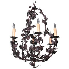 Early 20th Century French Six-Light Metal and Tole Chandelier with Flowers