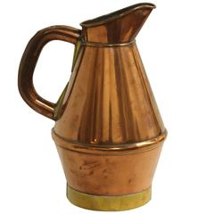 Copper and Brass Pitcher from Normandy, France