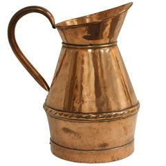 French Copper Water Pitcher