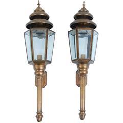 Pair of Large Brass Coach Lanterns, Italy, circa 1950