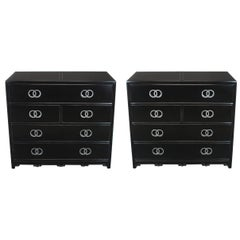 Pair of Ebonized and Silver Leaf Commodes by Michael Taylor for Baker