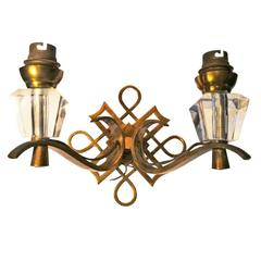 Elegant Jules Leleu Pair of Double Gilt Bronze Sconces, France, 1950s