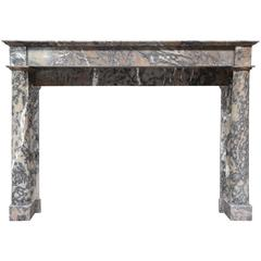 French Empire Period Caunes Grey Marble Fireplace, 19th Century