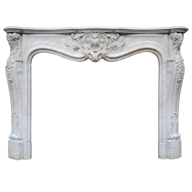 French Louis XV Style Carrara Marble Fireplace, 19th Century