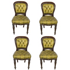 Set of Four William IV Side Chairs with Tufted Leather Upholstery