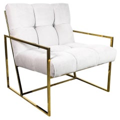 Mid-Century Modern Style Tufted Accent Chair in Cream Velvet with Brass Frame