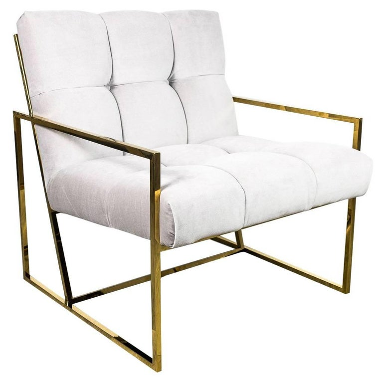 Mid-Century Modern Style Tufted Accent Chair in Cream Velvet with Brass Frame For Sale