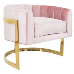 Ibiza Occasional Armchair with Curved Brass Base in Blush Pink Velvet