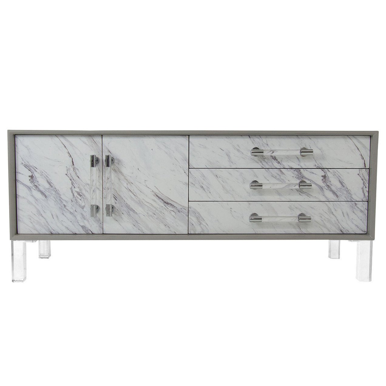 Greystone Lacquered Credenza with Carrara Marble Detail and Lucite Pulls & Legs