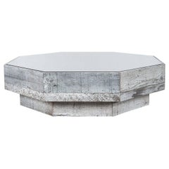Rustic Modern Octagon Coffee Table in Recycled Bar Wood with Beveled Glass Top