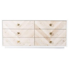 Lacquer Storage Dresser & Credenza with Bleached Wood & Lucite Drawer Fronts