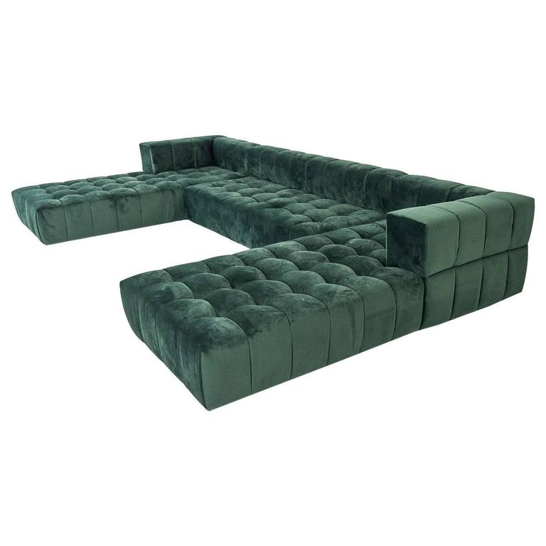 Mid century extra large three piece grid tufted modular for Large 3 piece sectional sofa