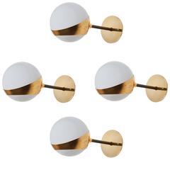 Four Brass and Opaline Glass Italian Sconces by Stilnovo