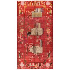 Gorgeously Contrasted Antique Samarkand Rug