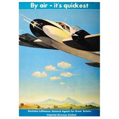 Original Deutsche Lufthansa Travel Advertising Poster - By Air - It's Quickest
