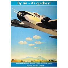 Original Deutsche Lufthansa Travel Advertising Poster - By Air - It's Quickest