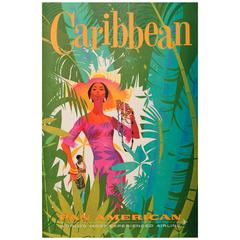 Original Vintage Pan American Travel Poster Advertising Pan Am The Caribbean