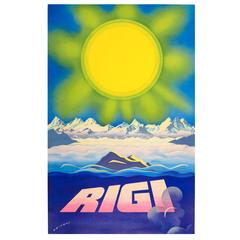 Original Vintage Travel Poster Advertising Rigi - Mountains in the Swiss Alps