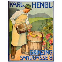 Original Early Vintage Advertising Poster for the Austrian Wine Maker Karl Hengl