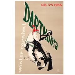 Original Vintage Skiing Event Poster for the 1956 Dartmouth Winter Carnival
