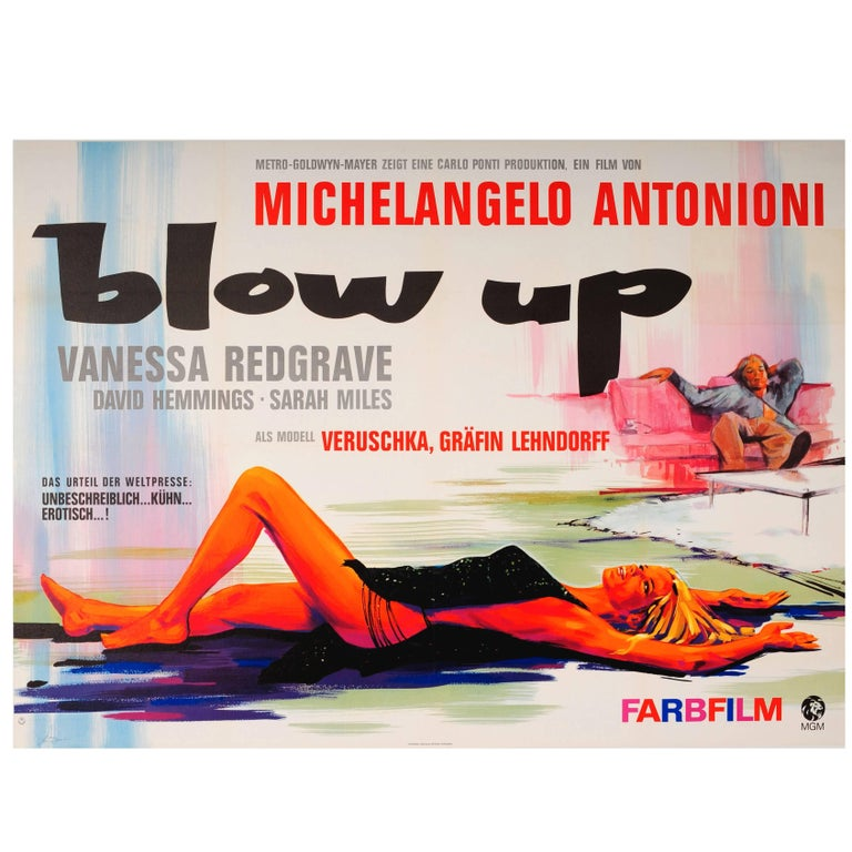 Original Vintage Movie Poster for Antonioni's Blow Up Starring Vanessa Redgrave For Sale