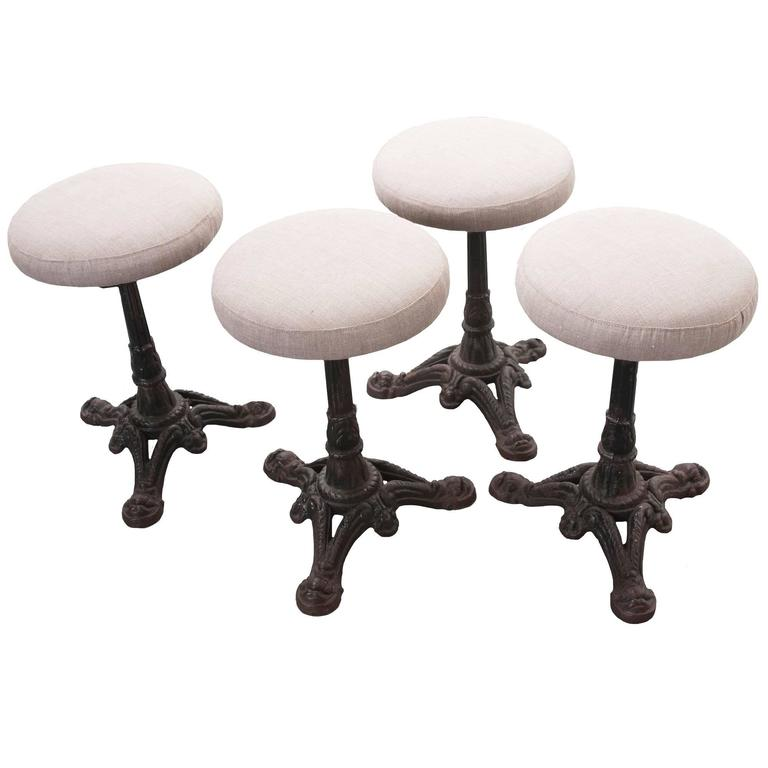 Set of Four French Iron Bistro Stools with Upholstered Seats