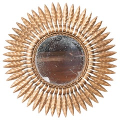 Early 20th Century French Gold Metal Sunburst Mirror