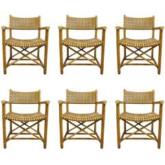 Incroyable Set Of Six Rattan Dining Chairs By McGuire At 1stdibs