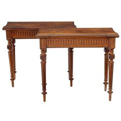Pair of 19th Century Victorian Burr Walnut Tea Tables