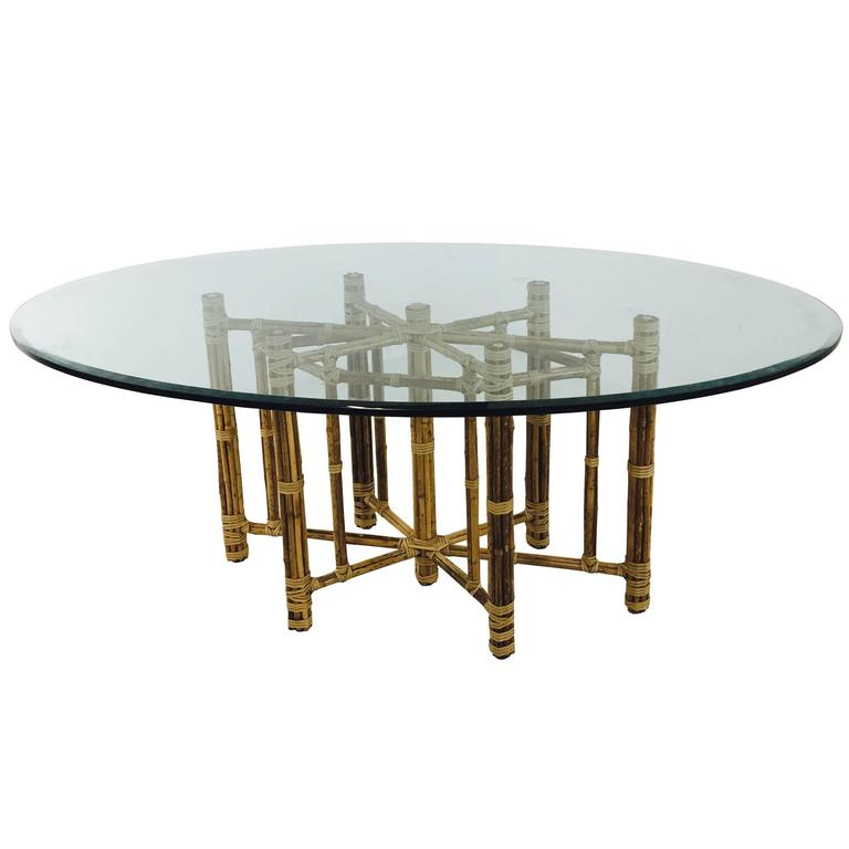 19a8f9210d9 Bamboo Oval Glass Dining Table by McGuire at 1stdibs