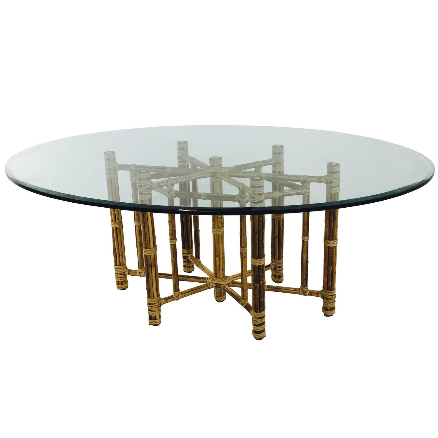 Bamboo Oval Glass Dining Table By McGuire At 1stdibs
