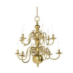 Large Dutch Solid Brass Twelve-Arm Chandelier