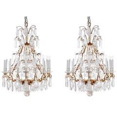 Large Pair of Louis XV Style 19th Century Rock Crystal Chandeliers