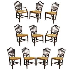 Set of Ten George III Style Mahogany Shield Back Dining Chairs