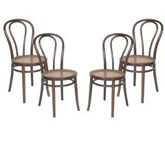 Set of Four Thonet Chairs in Excellent Conditions Polished Shellac, circa 1950