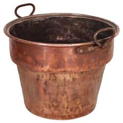 Italy Antique Solid Copper Bucket with Two Carrying Handles