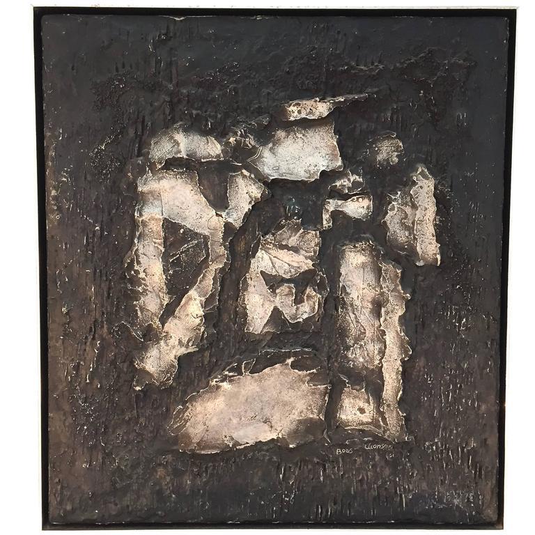"Boris Aronson Metal on Wood ""Lamina"" Wall Art Sculpture For Sale"