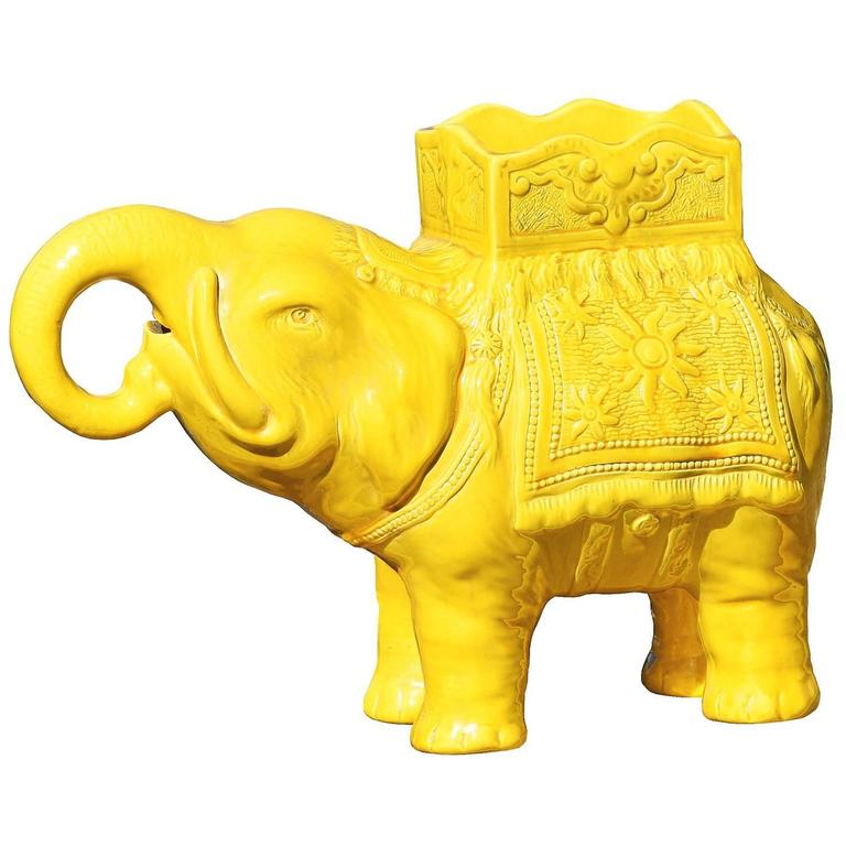 19th Century Yellow Elephant Jardiniere Vase Ault Arts & Crafts For Sale