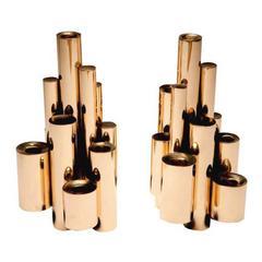 Gio Ponti Style Modernist Brass Stacked Tubular Candlesticks