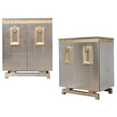A Pair of New Art-Deco Style Two-Door Silver Leafed Cabinets by David Duncan