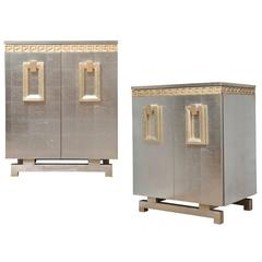 A Pair of New Art-Deco Style Two-Door Silver Leafed Cabinets
