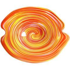 Fratelli Toso Murano Psychedelic Yellow Orange Opal Italian Art Glass Bowl