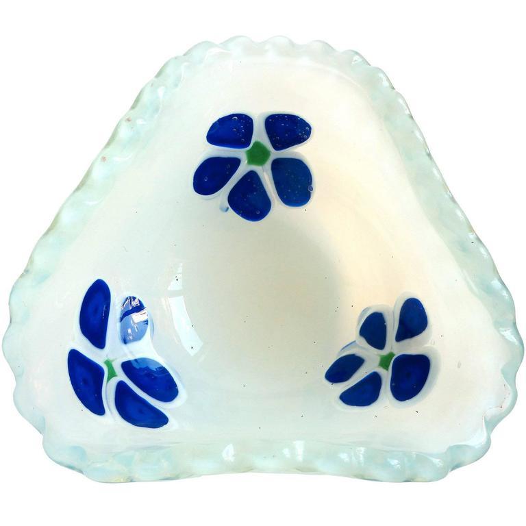 Fratelli Toso Murano Fiery Opal Blue Flowers Italian Art Glass Decorative Bowl