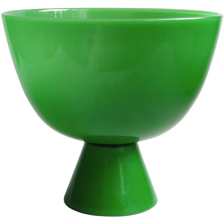 Murano Emerald Green Italian Art Glass Centerpiece Compote Bowl Vase