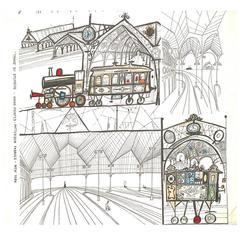 "Saul Steinberg ""Trains"" Patterson Fabrics 13 Yards"