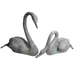 Antique Bronze Swans in Solid Bronze, Pair