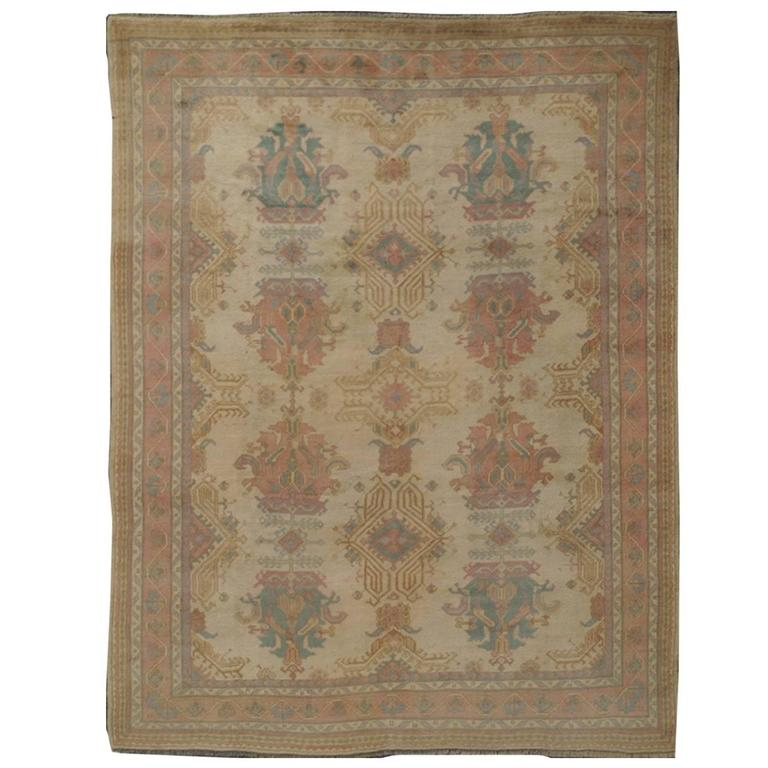 Vintage Turkish Oushak Rug With Sub-Geometric Motifs In