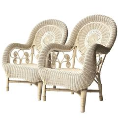 Pair of Armchairs in White Natural Fiber, France, 1960.